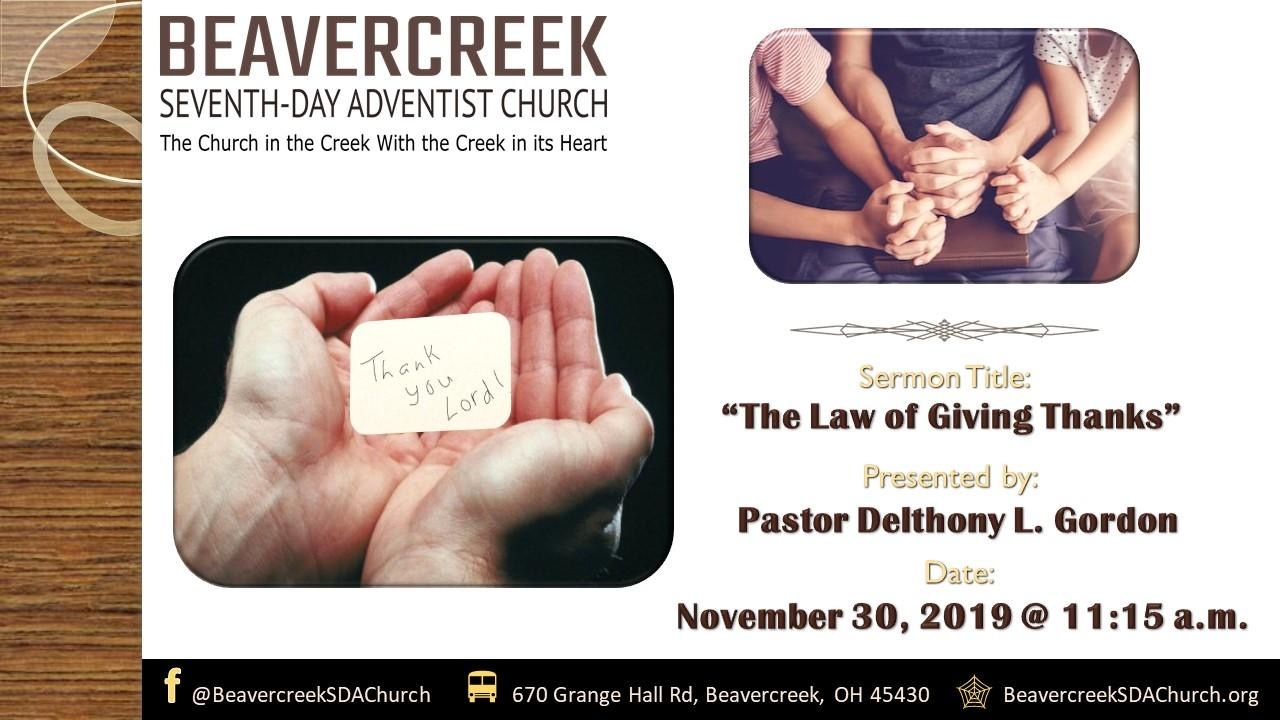 Lessons on Prayer Part 8: The Law of Giving Thanks